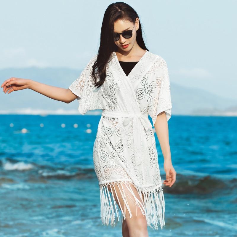 Vacaciones Borla Media Larga Jersey Mujeres Mujer Calidad White Chaqueta 2018 De Playa Manga Sexy Encaje Casual Elegante Uw0xXg6q