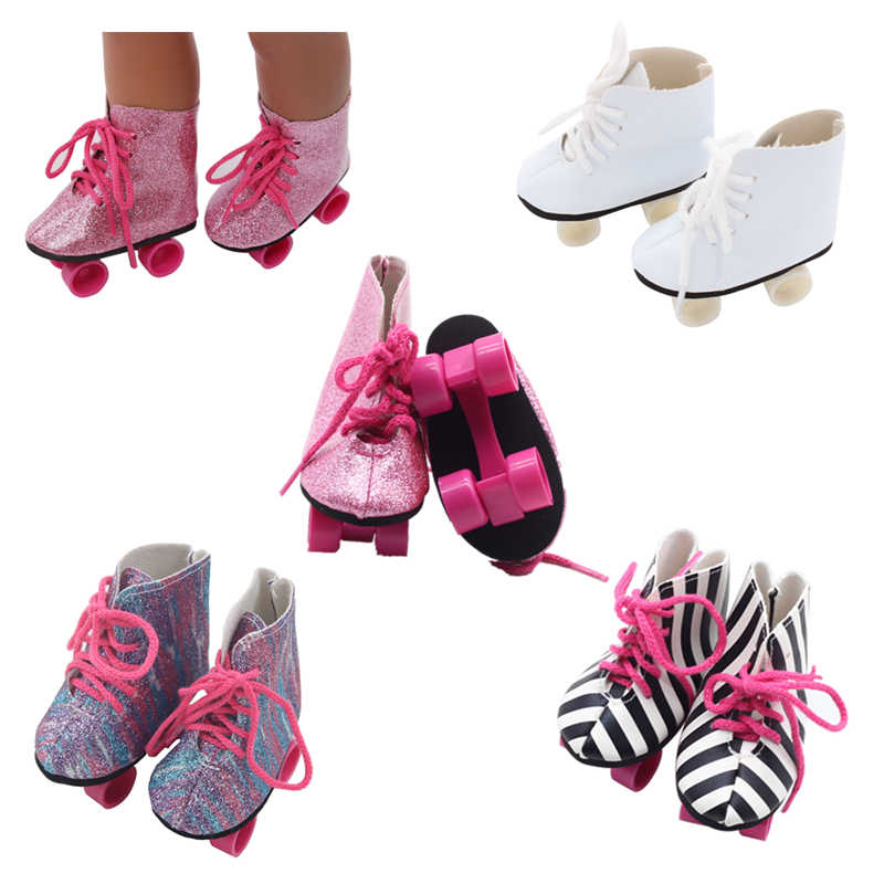 2019 New Fashion for 43cm baby The skating shoes for Reborn Bebe Doll shoes 7.5cm Mini Shoes 18 inch doll The skating shoes
