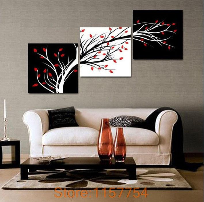 3 Panel Money Tree Modern Wall Art Black And White Decorative Painting Home Decor Print On Canvas Black And White Painting