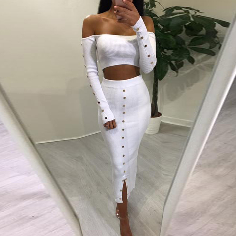 4b85d2da1df7 Detail Feedback Questions about KGFIGU two piece set 2018 Autumn long  sleeve crop tops and skirt set 2 piece outfits for womens clothing knit  Matching Sets ...