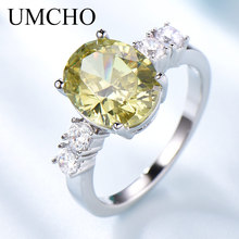 UMCHO Luxury Statement Yellow Zircon Engagement Bridal Weddi
