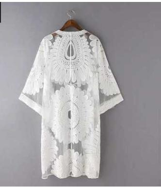 1pcs/lot Summer New Arrival Long Sleeve Crochet Kimono Cardigan Female Loose Boho Outerwear Beach Cover Up