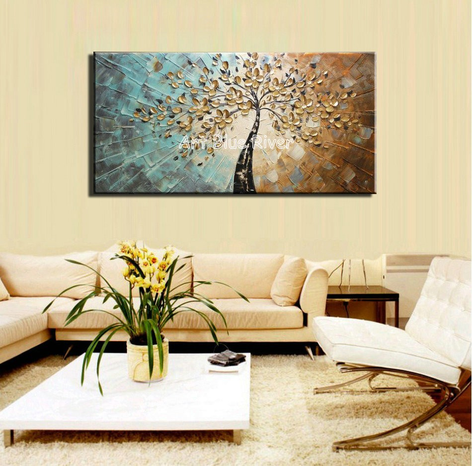 Large abstract canvas wall art decorative acrylic flower tree ...