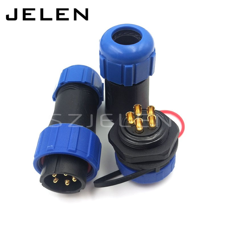 SP2110, 5 pin waterproof connectors plug and socket, Industrial Power Panel Mount Connectors, waterproof and dustproof connector