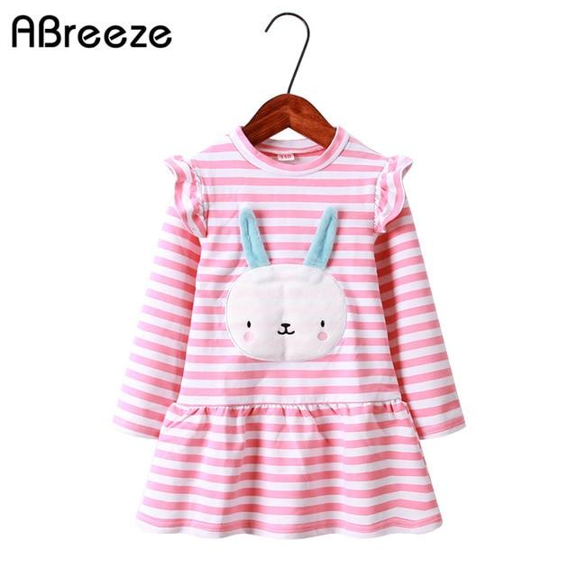080feb8d4 2018 nueva primavera y otoño de los niños vestidos de moda patrón de conejo  vestido de