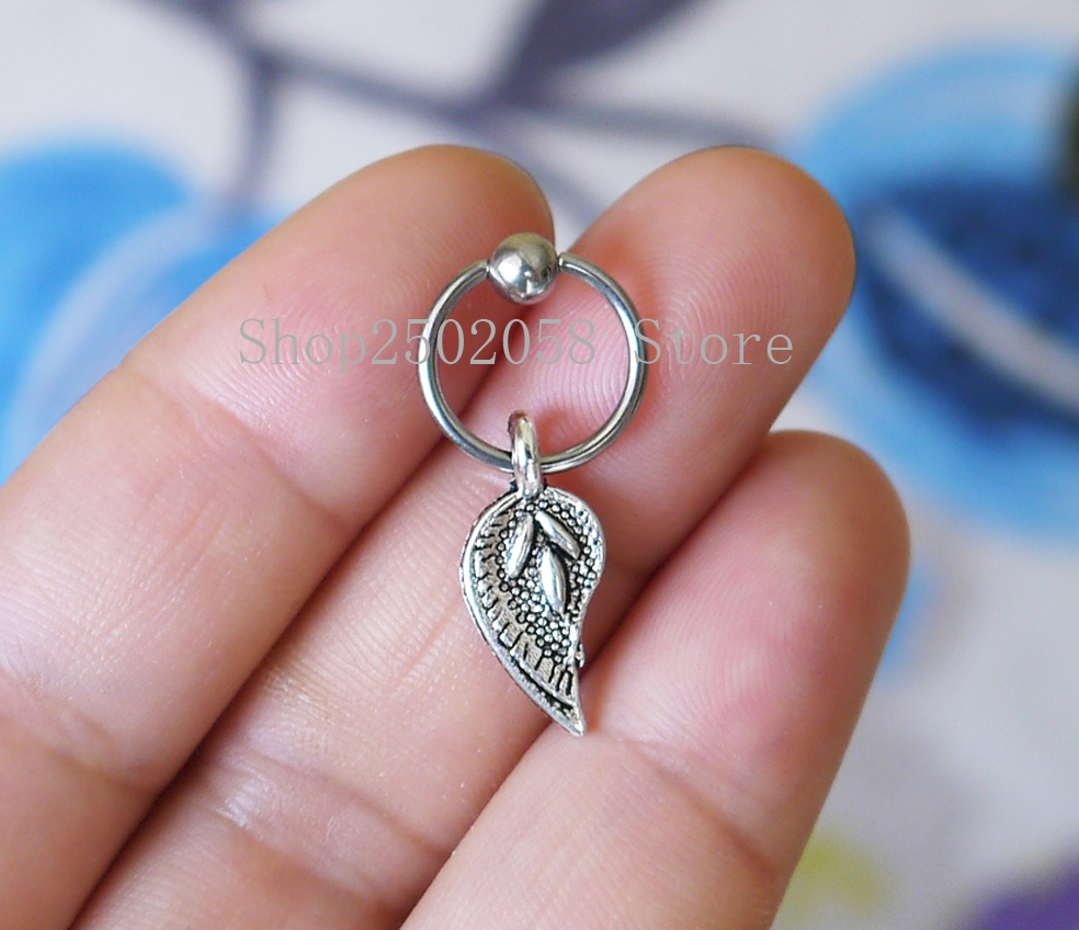 2pcs New Handmade Leaf Cbr Captive Bead Ring Cartilage Hoop Helix Cartilage  Earrings Gift Fashion Jewelry