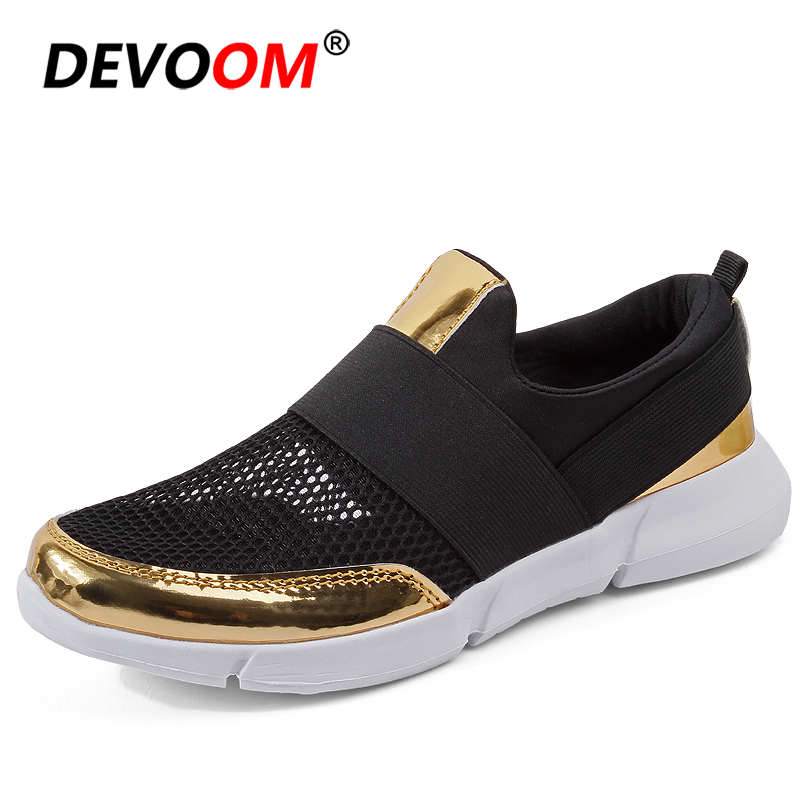 Fashion 2018 Nurse Shoes New <font><b>Women</b></font> Platform Flat Shoes Golden Woman Shoes Summer Gravida Air Mesh Flats Cheap Big size 42 image