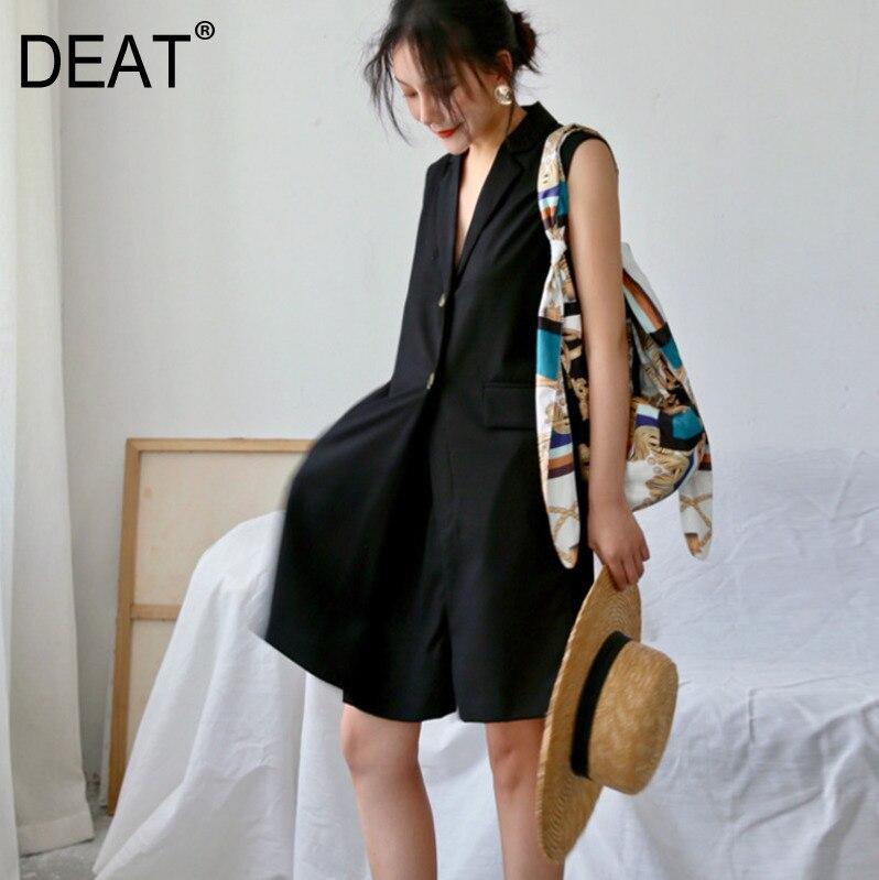 DEAT 2019 แฟชั่นฤดูร้อนใหม่เสื้อผ้าผู้หญิง Turn   down คอเดี่ยวเสื้อกั๊ก Jumpsuit WH15201XL-ใน จั๊มพ์สูท จาก เสื้อผ้าสตรี บน AliExpress - 11.11_สิบเอ็ด สิบเอ็ดวันคนโสด 1