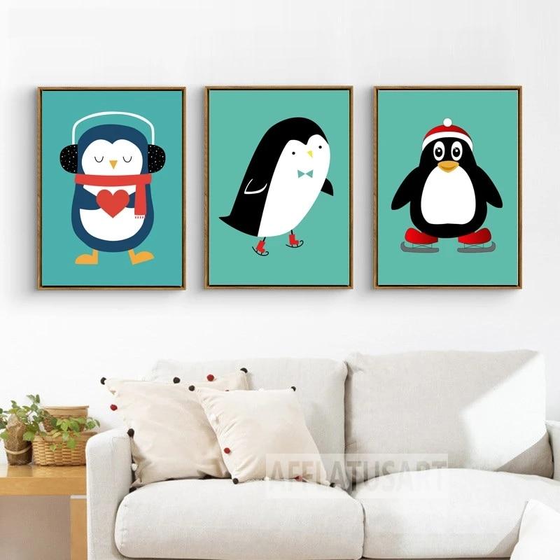 skating penguins canvas picture print modern art