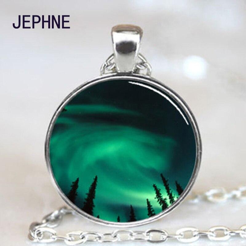 JEPHNE BRAND 1PC Glass Cacochon Necklace Night Sky of Alaska Aurora Borealis  photo Pendant Gift For 6541835e4ddd
