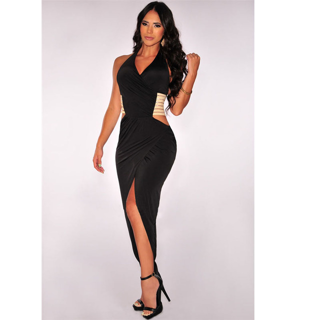 4eeed5b67fcd3 US $12.37 |Women Black White Split Bodycon Maxi Dress Sexy Club Dress 2016  Halter V Neck Ankle Length Long Dress Ladies Bandage Dress S2084-in Dresses  ...
