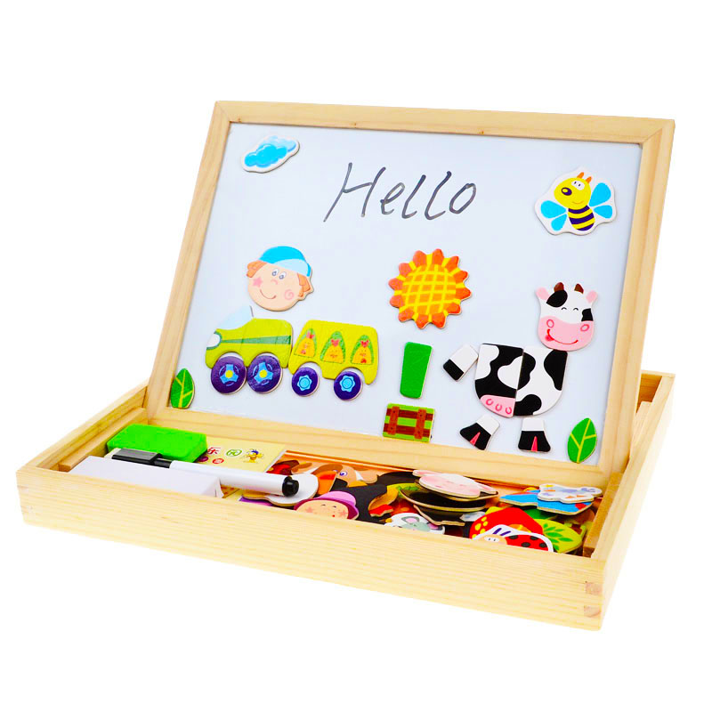 BOHS Multifunctional Drawing Board Wooden Toys Educational Magnetic Puzzle Farm Jungle Animal Children Kids Jigsaw Baby