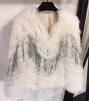Модная женская куртка из меха Терме, модель 2018 года, vadim, великолепное пальто с пайетками, для тяжелой работы, для изготовления бусин, manteau femme