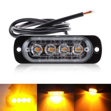 12V - 24V 4 Led Strobe Warning Light Strobe Grille Flashing Lightbar Truck Car Beacon Lamp Amber Yellow White Traffic light vsled 8 x 4 led emergency lights grill light car truck beacon light bar flashing strobe warning amber white led lightbar