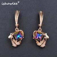 ISHOWLEE Gold 585 Großen Kristall Quadrat Ohrringe Jwelry für Frauen Koreanische Navy Blau Große Zirkon Ohrringe Luxus Schmuck esp17