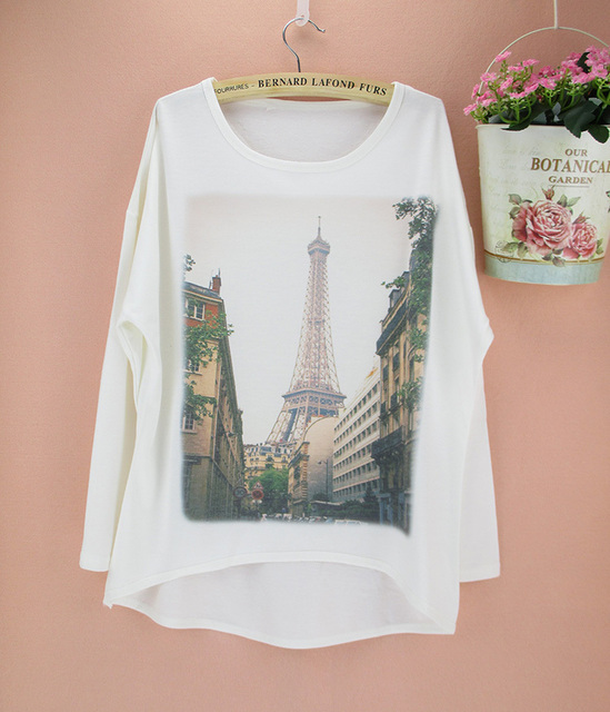 Paris Eiffel Tower pattern plus size women t-shirt long sleeve batwing  design top tees 4e219775e