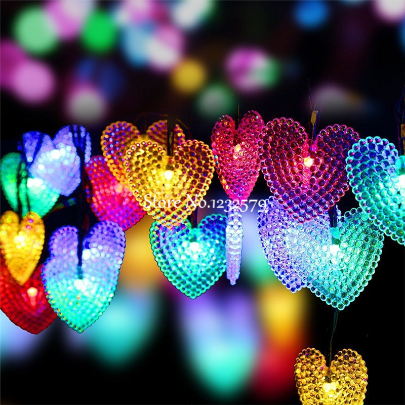 5M/6M/7M/12M/22M Solar Powered Heart String Lights 20/