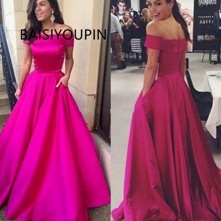 Fuchsia   Prom     Dresses   2019 A Line   Dresses   Evening Wear Off Shoulder Backless Elegant   Proms     Dress   Wear