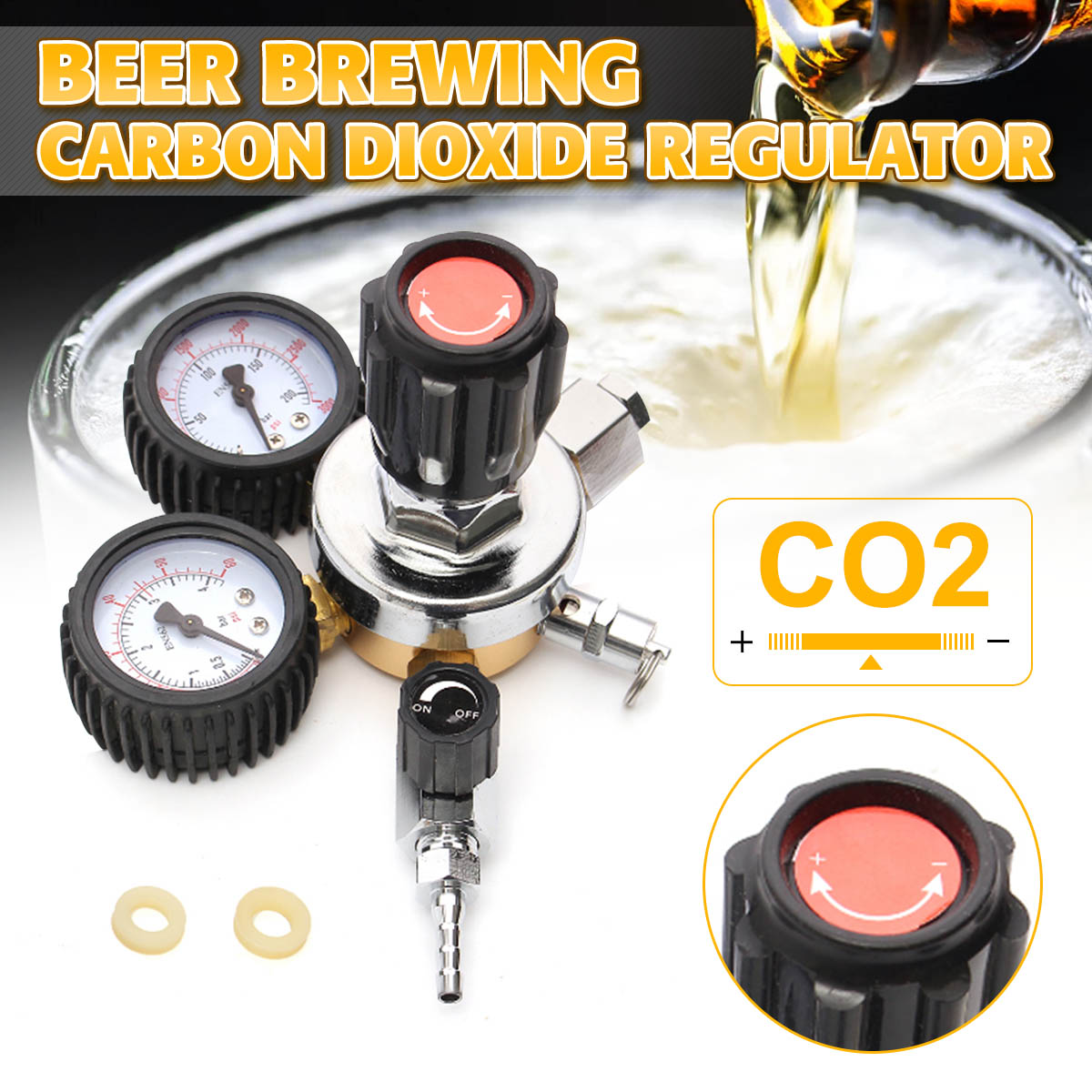 CO2 Gas Bottle Regulator Carbon Dioxide CO2 Regulators Pressure Reducer For Beverage Beer W21.8 Double Gauge Regulator