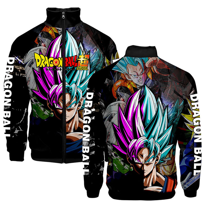 3d Stand Collar Print Anime Cartoon Dragon Ball Z Fashion Men Women Zipper Hoodies Jackets Long Sleeve Zip Up 3D Sweatshirt Tops
