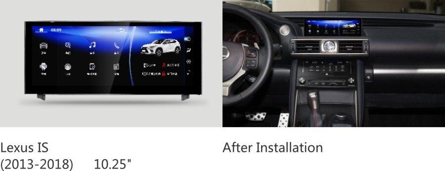 NAVIRIDER navigation 10.25 écran octa base android 7.1 Unité de Tête pour Lexus IS 250 IS200t, IS300h, IS200, IS250, IS300, IS350