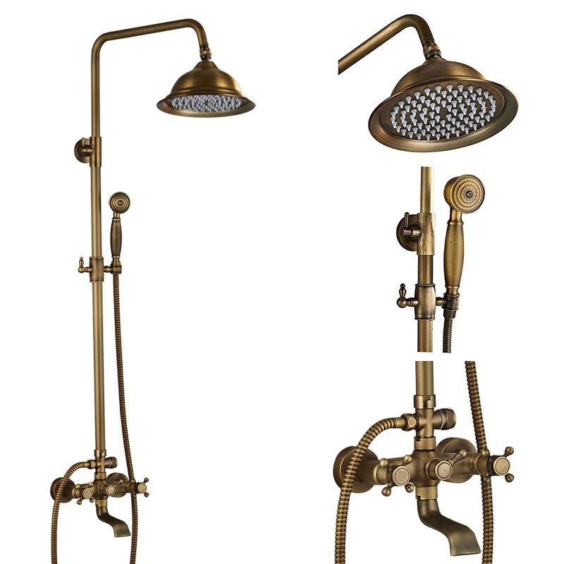Rainfall Wall Mount Bath Shower Mixer Taps Brass Antique Bathroom Shower Set Column Dual Handle Shower Faucet 360 Rotate Spout