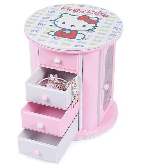 Cartoon Musical Cosmetics Jewel Mirror Storage Box Best Birthday Gift For Girl