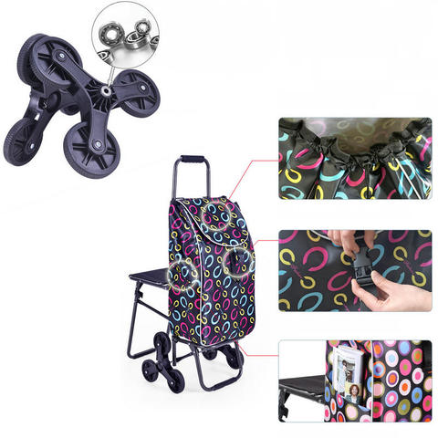 Home Climb Stairs Shopping Cart with Waterproof Bag, Household Trolly with seat, Steel Frame Shopping Cart, Pull Rod Cart Multan