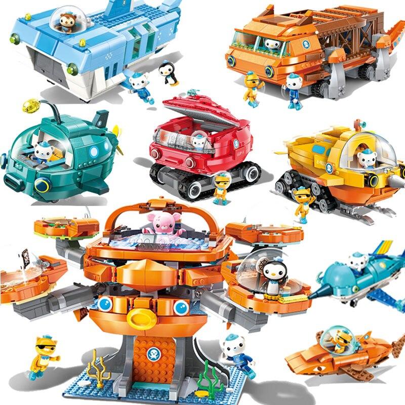 Criador Da Cidade Les Octonauts Octopod Polvo Dos Desenhos Animados Modelo de Blocos de Construção Tijolos Compatível LGSET Duplo Presentes Brinquedos Educativos