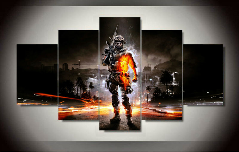 5 Panel BattleField 3 Shooting Game Modern Home Wall Decor Canvas Picture Art HD Print Painting On Canvas For Living Room Framed