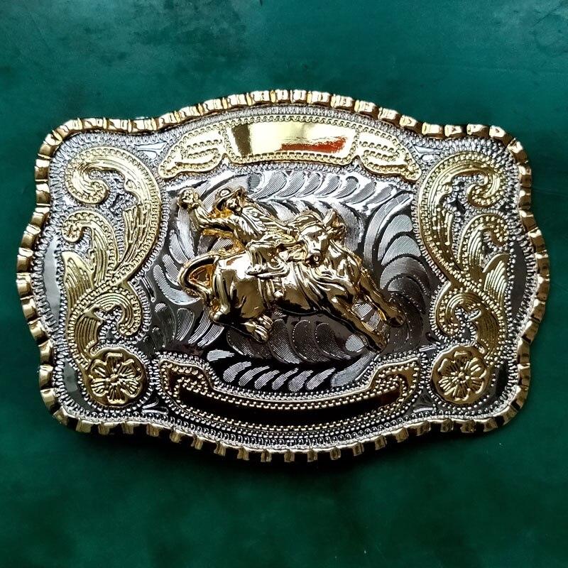 1 шт., большой размер, 138*92 мм, 131 г, серебро, золото, Rodeo Bull, ковбойский металлический ремень с пряжкой для мужских джинсов, ремень с головкой