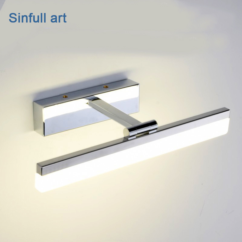 Modern Waterproof LED Mirror Light Bathroom Wall Light Simple Makeup Stainless Steel Sconce Indoor Lighting fixture 8w AC90-260V modern led mirror light 12w 18w waterproof wall lamp fixture 90 260v aluminum wall mounted bathroom lighting sconce wml005