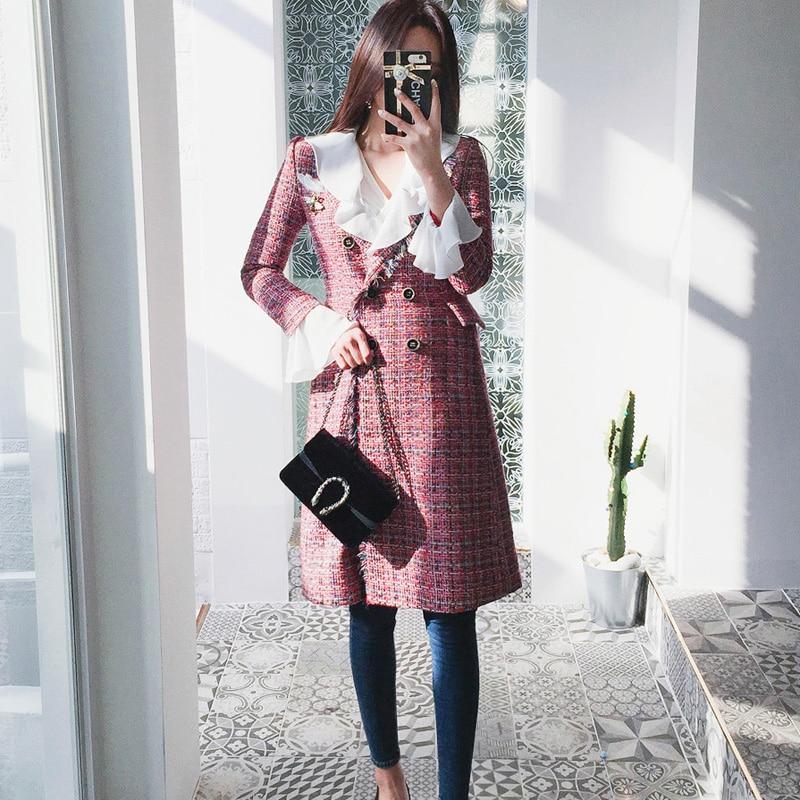 Laine Mélangée Outwear Manteau Manches 2018 Tissu Flare Boutonnage Double purple Soie Red Mince Mousseline Bureau Hiver De Patchwork En ffZSFa6q