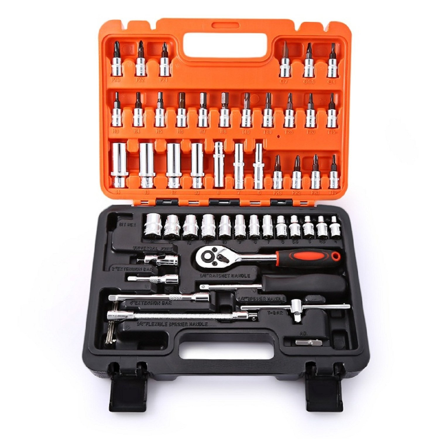 53PCS1/4-Inch Drive Socket Set Car Repair Tool Kit Ratchet Wrench Drive Socket Wrench Automobile Motorcycle Repair Hand Tool Set