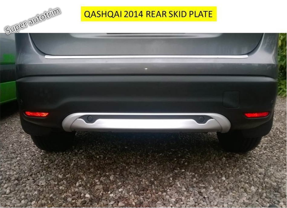 ABS ! Front + Rear Bumper Protector Skid Guards Plate Cap Cover Trim 2 pcs For Nissan Qashqai J11 2014 2015 2016 front rear bumper protector sill trunk guard skid plate trim cover plate for nissan qashqai 2007 2008 2009 2010 2011 2012 2013