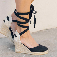 Dwayne 2018 Summer Ankle Strap Espadrilles Wedge Sandals Women Canvas Platform Sandals Fashion Lace Up Summer