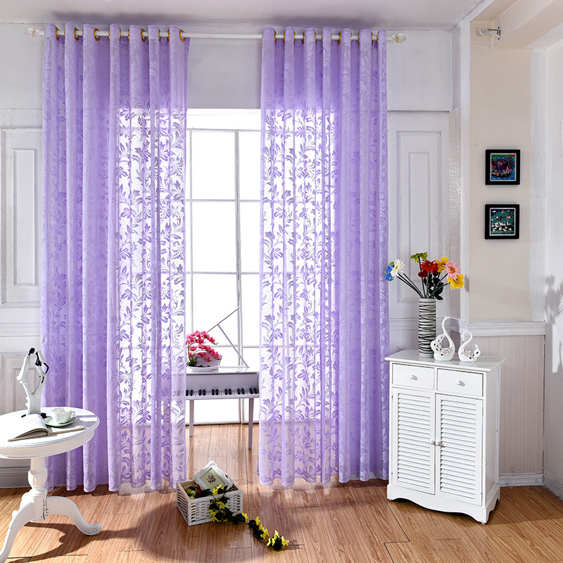 WLIARLEO Hot Sale Tulle Curtains Embroidered Leaves Sheer