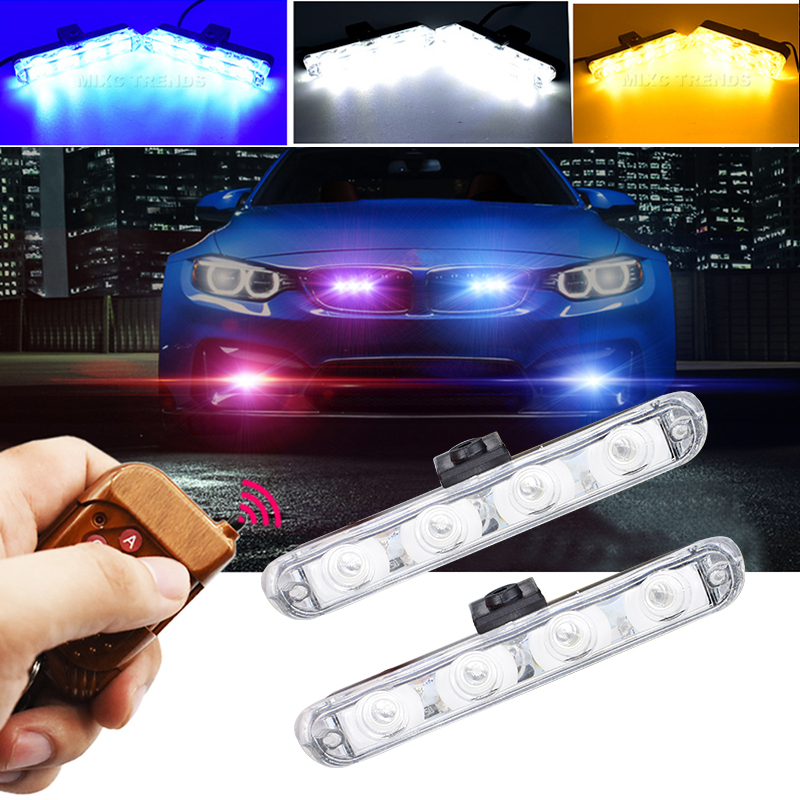 Remote Controller Flash Strobe led car DRL Police day Light 12V 2x4LED Auto car-styling Flasher Firemen Ambulance Warning lights sg152b dc 24v 130w 3 pin led light fast blink flash auto car flasher relay 5 pcs