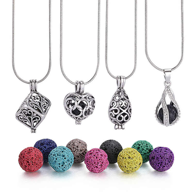 1Pc 8mm diffuseur de pierre de lave creux médaillon colliers Bracelets Bracelets pour huile essentielle collier cadeau