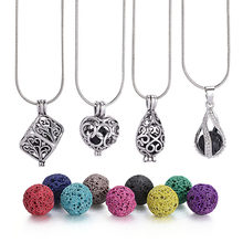 1Pc 8mm Lava Stone Diffuser Hollow Locket Necklaces Bracelets Bangles For Essential Oil Necklace Gift(China)