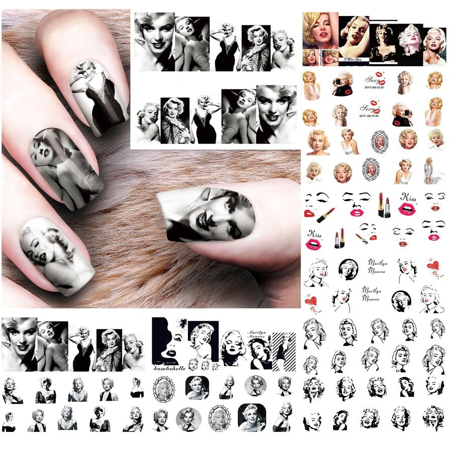 12 листов Мэрилин Монро ногти водяные наклейки для ногтей искусство украшения наклейки для ногтей Инструменты Одри Хепберн