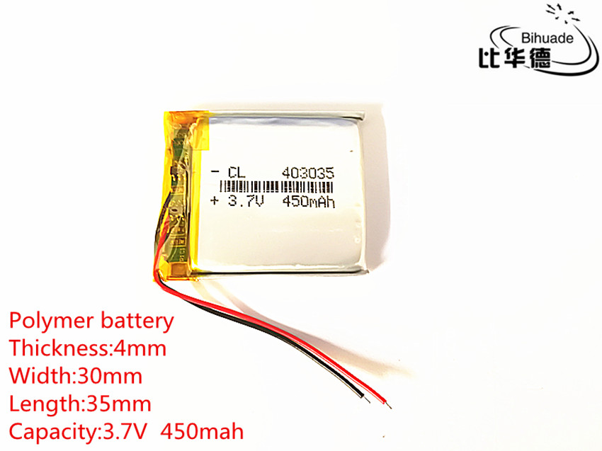 10pcs <font><b>3.7V</b></font> 450mAh <font><b>403035</b></font> Lithium Polymer Li-Po li ion Rechargeable Battery cells For Mp3 MP4 MP5 GPS PSP mobile bluetooth image
