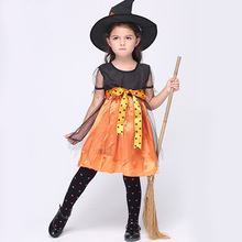 цены Halloween Witch Costume Fancy Children 2017 Orange Witch Costume Girls Cosplay Christmas Fancy Dresses
