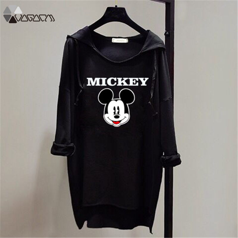 Women Spring Autumn Kawaii Hooded Pullover Long Sleeve Mickey Mouse Casual Loose Hoodies Bat Sleeve Plus Size Sweatshirts