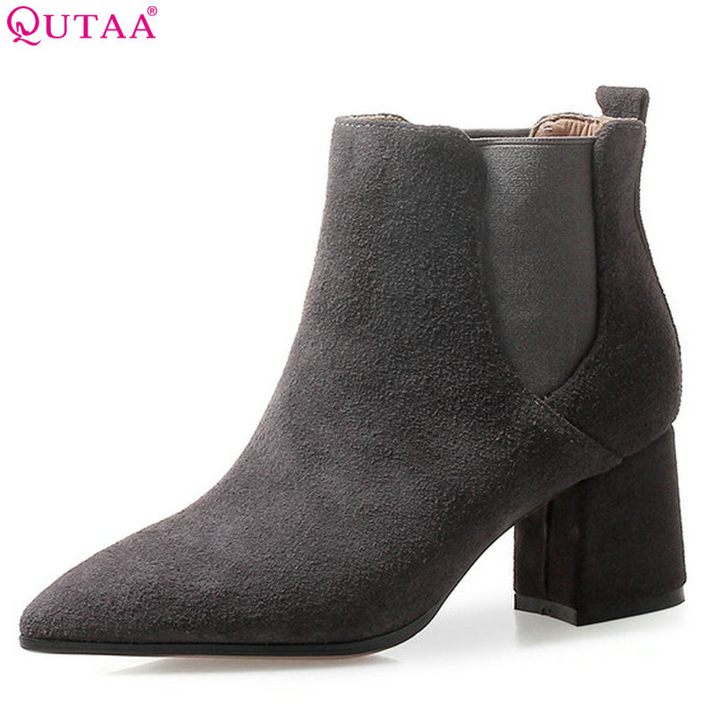 QUTAA 2019 High Quality Women Ankle Boots Platform All Match Square High Heel Pointed Toe Winter Shoes Women Boots Size 34-39 hot sale autumn winter shoes round toe fashion ankle women boots sheepskin all match square high heel