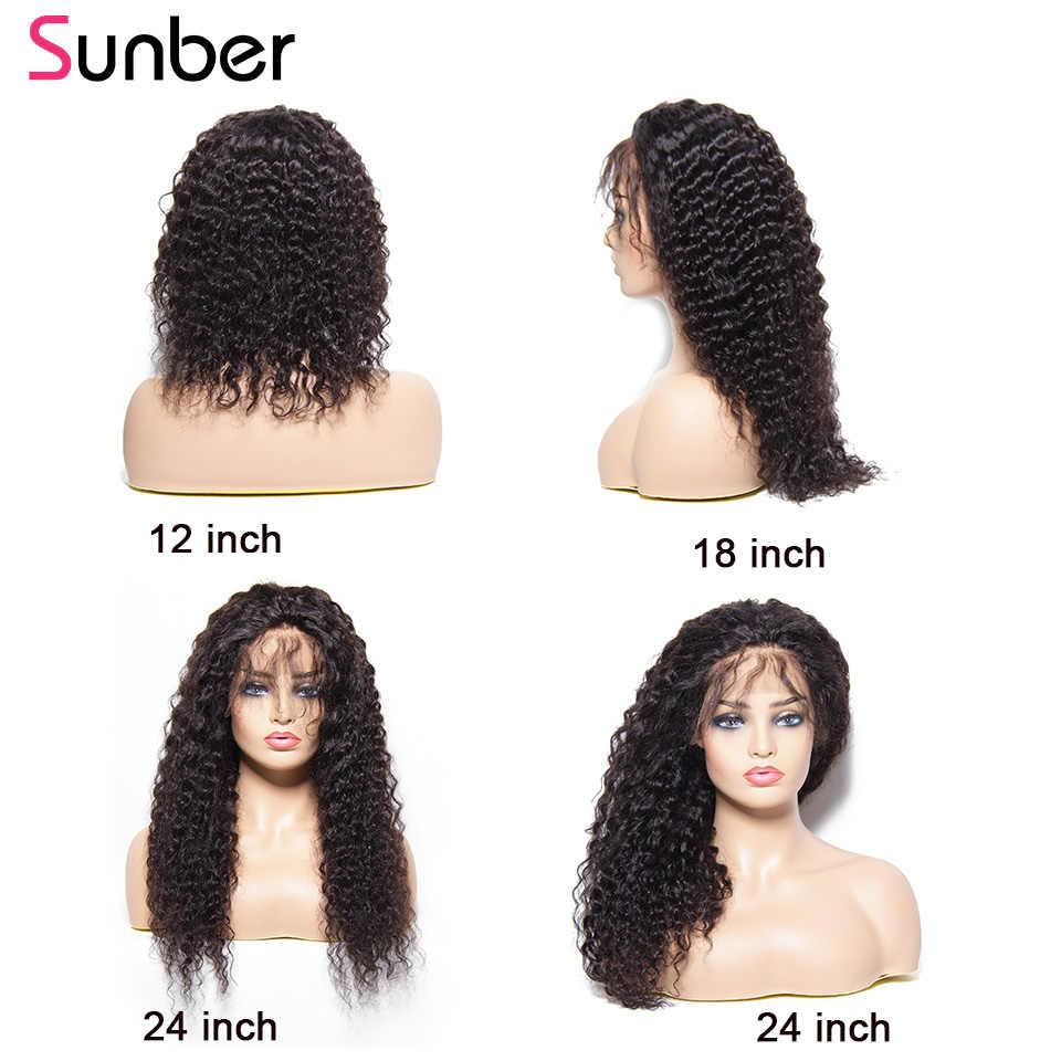Sunber перуанский глубоко вьющиеся парики на сетке предварительно вырезанные с детскими волосами 13x4/6 150/180 плотность Реми Синтетические волосы на кружеве парики из натуральных волос для Для женщин