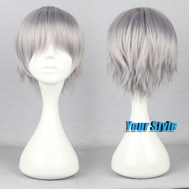 30cm Synthetic Short Pixie Boy Cut Hairstyles Gray Grey Hair