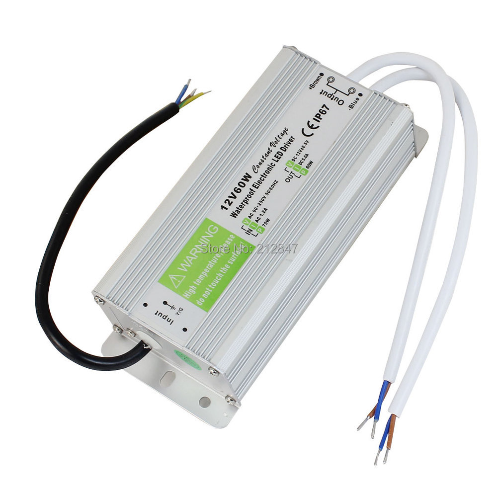 AC90~250V to DC12V 60 Watt Transformer IP67 Waterproof LED Driver Power Supply meanwell 24v 60w ul certificated lpv series ip67 waterproof power supply 90 264v ac to 24v dc