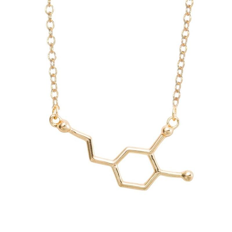 yiustar Chemie Struktura Kuřáci Neobvyklý náhrdelník Dopamin Molekula Přívěsek náhrdelník pro ženy Collier Femme XL140