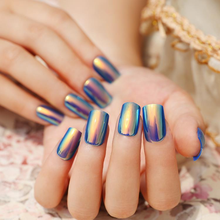 Metal Color Lady Acrylic Fake Nail Tips Shiny Seashell Color Blue ...